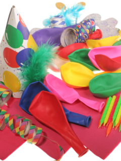 A bunch of dollar store party supplies ready to use.