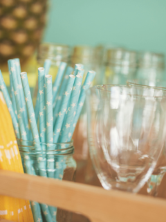 a tray of drink ware ready with dollar store party supplies.