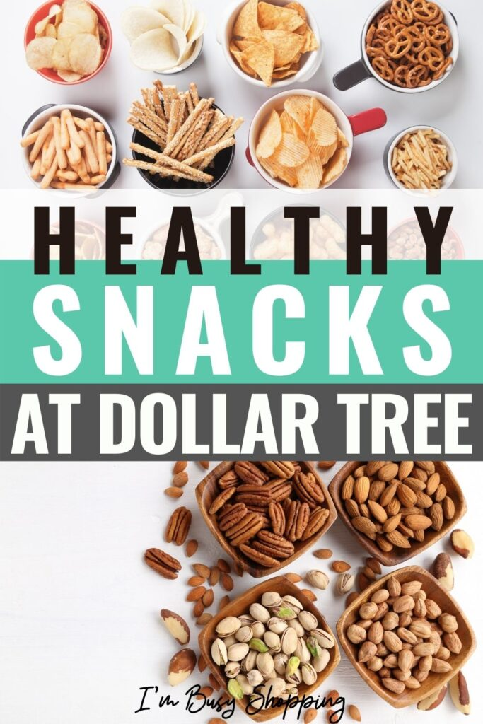 Pin showing the finished dollar tree healthy snacks.