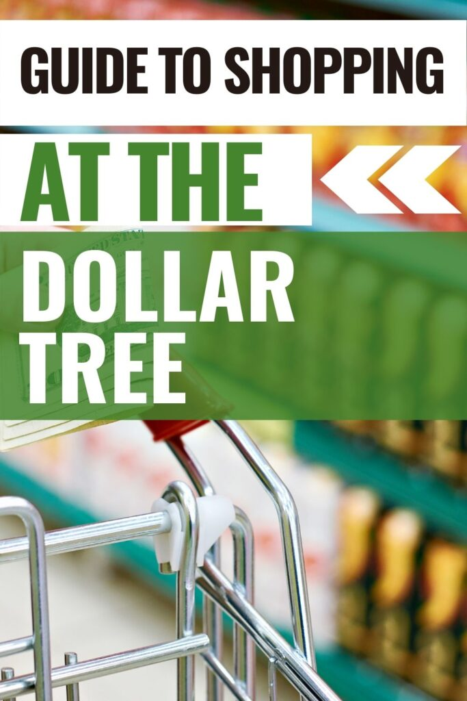 pin showing a shopping cart and title saying guide to shopping at dollar tree