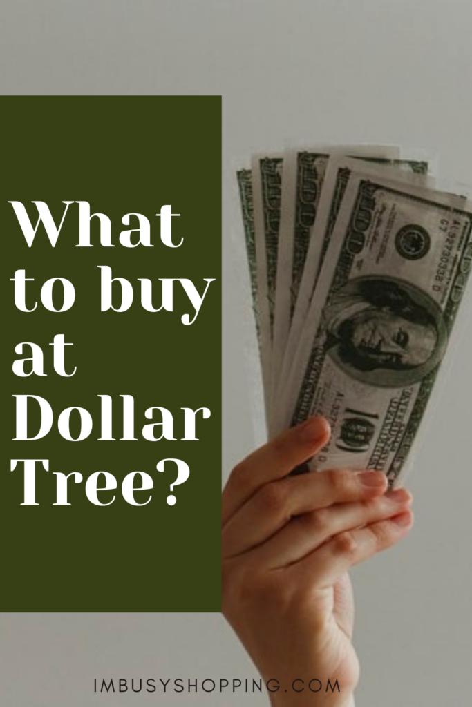 pin showing what to buy at dollar tree
