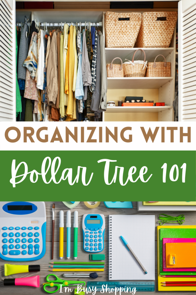 Pin showing the title Organizing with Dollar Tree